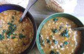 Sopa picante de cordero y lentejas