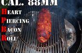 Cal. 88mm corazón Piercing Bacon Roll - relleno con cebollas y ciruelas, envuelto en una trenza de tocino