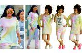 Vestido de suéter arco iris DIY + pantalón corto DIY inspirado en Rihanna