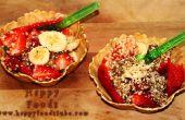 Ensalada de crujientes de verano la fruta en oblea cesta postre