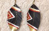Pendientes de cuero (pluma) de lujo
