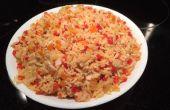 Sabroso arroz jazmín y pimiento