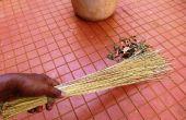 Cero presupuesto escoba de hojas de árbol de coco