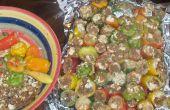 Jamaicajun Chipotle costilla y Ribeye Stuft pimientos
