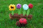 Amigurmi mariquita y flores