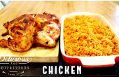 LENTO cocinado arroz JOLLOF y pollo