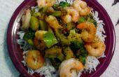 Camarón teriyaki, brócoli y arroz