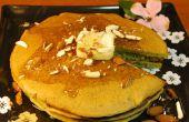 Té verde tortitas con jarabe de jengibre (vegana)