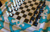 Compartimiento secreto en la mesa de ajedrez con 9 moverse combo llave!!!