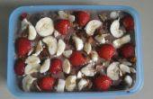 Pudín de chocolate flan fruta
