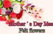 DIY día de la madre Ideas regalo, cómo hacer flores de fieltro, color de rosa, lirios, claveles y blosoms almendra