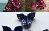 Pinzas de pelo - origami con la tela de la mariposa