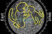 Encontrar la dirección del norte y tiempo utilizando las características superficiales del p3-Luna Luna