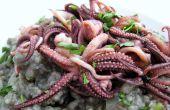 Risotto de tinta de calamar con calamares frito