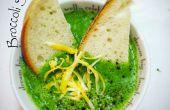 Sopa de queso Cheddar de brillante verde brócoli
