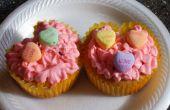 San Valentín corazón forma Cupcake con un beso de