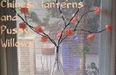 Linterna China flores y ramitas de sauce coño