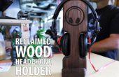 Soporte para auriculares de madera reciclada