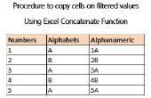 Procedimiento para copiar celdas a filtra valores utilizando la función concatenar de Excel