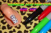 Sharpie impresión de leopardo del arco iris del arte del clavo