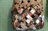 Tejido de cesta hecha de papel reciclado / correo basura