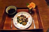 Salteado de calabacín, pimientos poblanos y cebollas rojas