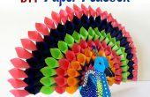 Proyecto de artesanía de papel DIY: Cómo hacer papel multicolor pavo real para la decoración del hogar