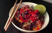 Congelador a la mesa en 10 minutos: Thai de camarones salteados con arroz de coco