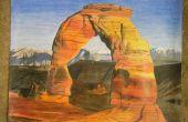 Parque Nacional Arches dibujo a lápiz de color