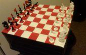 Tablero de ajedrez de la cinta y el conjunto del ajedrez del conducto