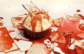 Cristal quebrado de dulces Cupcakes con sangre para Halloween