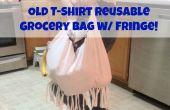 Antigua camiseta reutilizables bolso con flecos!