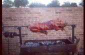 Asador de cerdos con alimentación solar