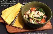 Gluten Free ñoquis con salsa de queso de cabra y verduras
