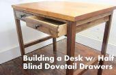 Construir una mesa de nogal con una tapa de caoba