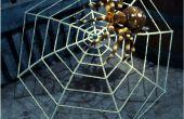 Gran tela de araña hecha de un paraguas