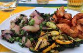 Ensalada de patata con calabacín marinado a la parrilla de jardín