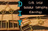 Oro lindo DIY con cuentas colgando pendientes
