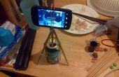 Trípode de cámara de teléfono de 2 pares de palillos, lata de aluminio de 12 oz y 5 gomas