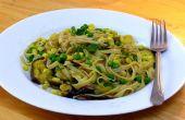 Fettucine cremoso con setas Shitake al curry y maíz - vegano y libre de Gluten