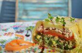 Ahumado Terrina de salmón con calabacines, Quinoa y espinacas