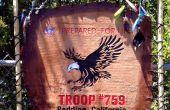 Bandera de la tropa de Boy Scout hecha a mano - madera y cuero