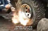 Volver a inflar un neumático tubeless de carro de carretilla o mano (sin explosivos)