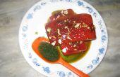 Carne de sandía con perifollo piña y salsa de menta