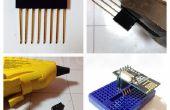 Un sencillo hack para adaptar un encabezado de fila doble macho de 8 pines a un protoboard.