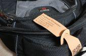 Laser corte y grabado al agua fuerte etiqueta de equipaje de cuero