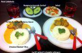 Ñoquis de corazón picante al curry, cocido al vapor arroz Basmati, ensalada y sorbete de aguacate Romero - vegetariana fecha cena