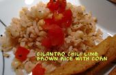 Cilantro ají limón, arroz con maíz