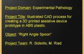 Proceso ilustrado CAD para crear un 3D impreso dispositivo asistencial en plástico ABS