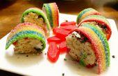 Sushi de postre colorido [hecho con arroz krispies]